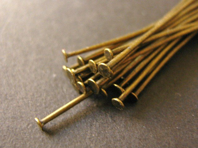 Head Pin Findings 2 Inch or 5CM Antique Bronze