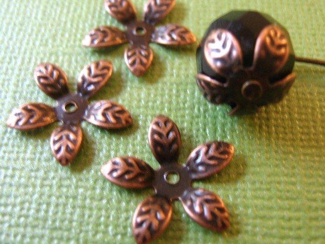 Flower Leaf Bead Caps 15mm Antique Copper
