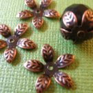 Flower Leaf Bead Caps 15mm Antique Copper