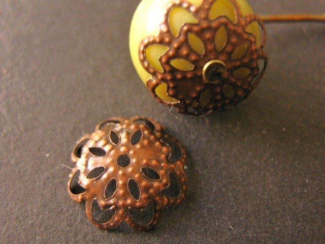 Filigree Flower Bead Caps 5x11mm Antique Copper