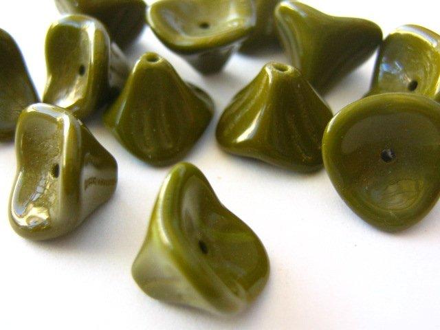 Olive Green Czech Glass Beads 10x12mm 3 Petal Flowers