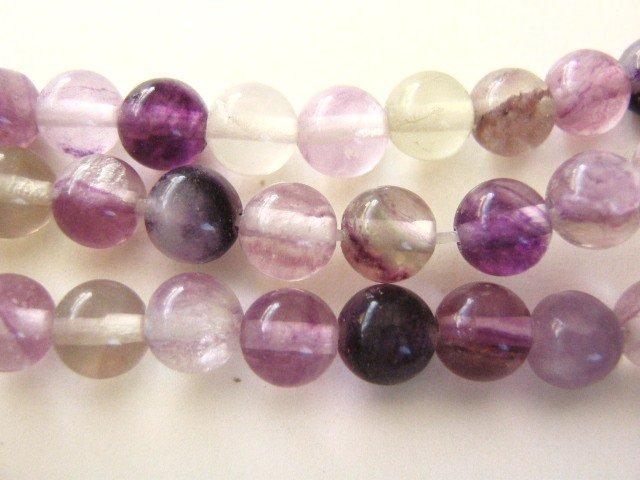 Fluorite Gemstone Beads 6mm Round Purple Green Clear