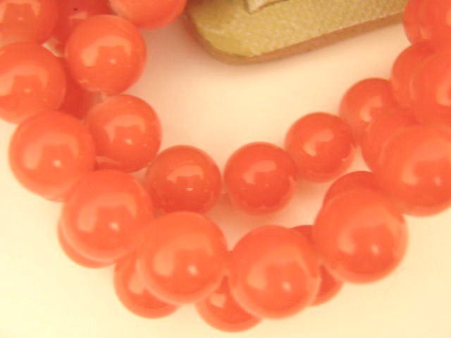 Salmon Opaque Glass Beads 8mm Round