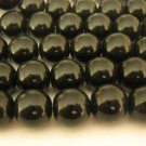 10mm Round Black Glass Beads