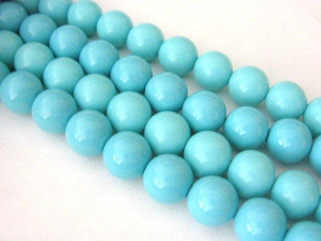 Glass Beads Aqua Blue Opaque 10mm Round