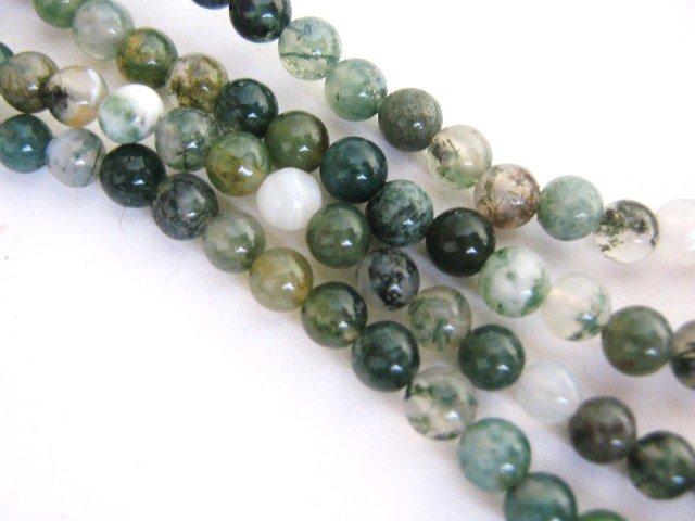 Moss Agate 4mm Round Green Gemstone Beads