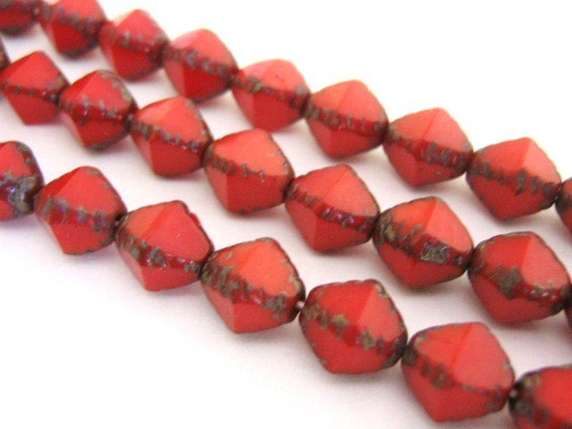 Red Picasso Czech Glass Beads 8x9mm Bicone