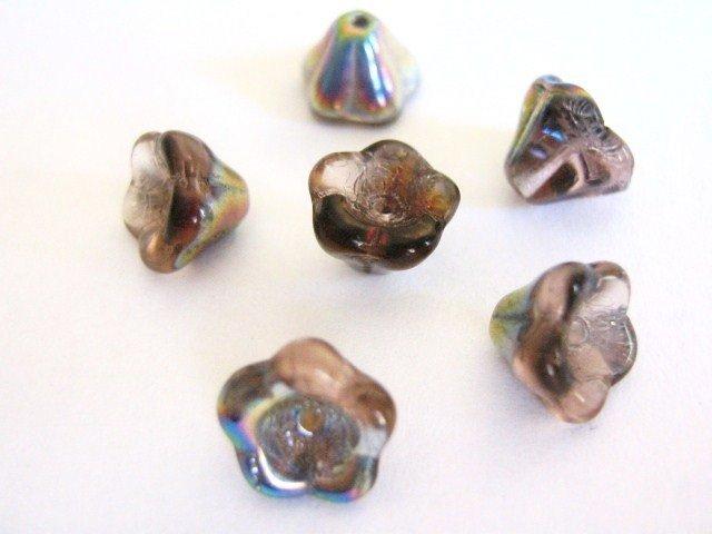 Rose Vitrail 8x6mm Flower Pink Silver Czech Glass Beads