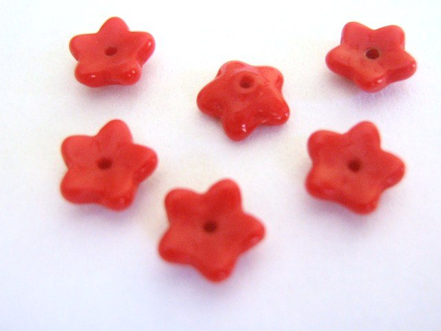 Red Opaque Czech Glass Beads 8mm Flower