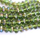 Olivine Celsian 5x3mm Faceted Rondelle Green Czech Glass Beads