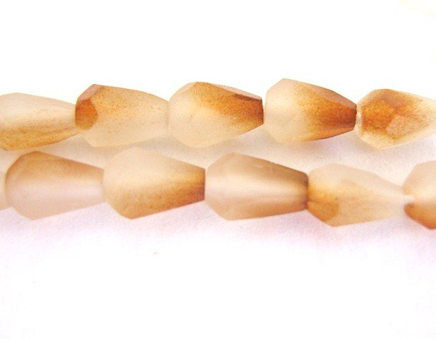 Czech Evelina Topaz Brown Glass Beads Faceted 5x7mm Teardrop
