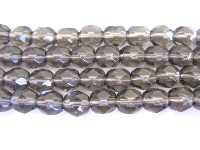 Gray 6mm Faceted Round Czech Glass Beads