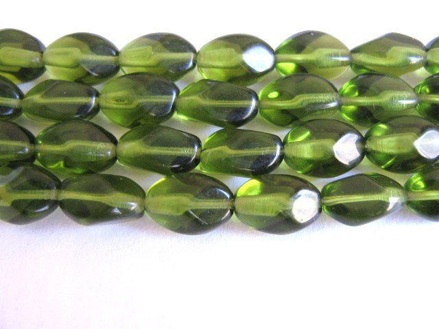 Olivine Green Czech Glass Beads 11x7mm Pinched Oval
