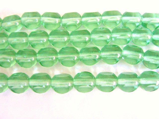 Green 8mm Round 3 Cut Triangle Czech Glass Beads