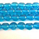 Aqua 3 Cut Triangle 8mm Round Blue Czech Glass Beads