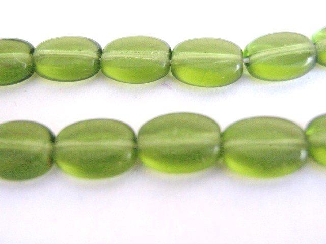 Olivine 6x8mm Flat Oval Green Czech Glass Bead
