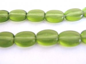 Olivine Green Czech Glass Bead 6x8mm Flat Oval