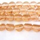 Peach 3 Cut Triangle 8mm Triangle Round Czech Glass Beads