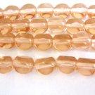 Peach 3 Cut Triangle 8mm Triangle Round Czech Glass Beads
