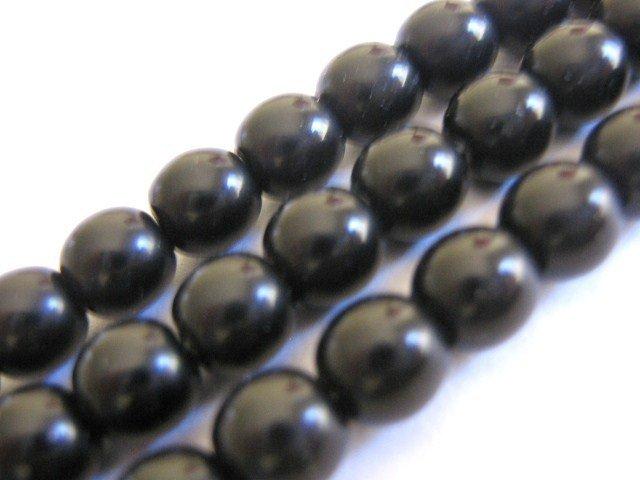 Jet Opaque Black 8mm Round Czech Glass Beads
