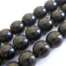 Jet Opaque Black 8mm Round Czech Glass Beads