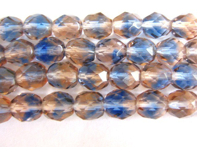 Blue Pink 8mm Faceted Round Czech Glass Beads