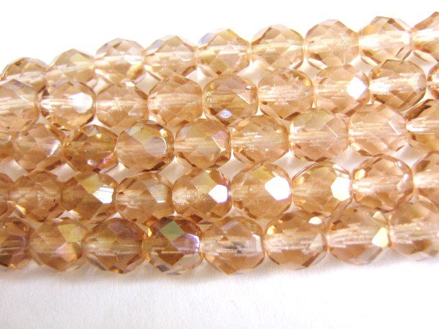 Rose Clarit 8mm Faceted Round Pink Czech Glass Beads