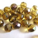 Amber Zarit 8mm Faceted Round Brown Czech Glass Beads