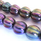 Iris Purple Metallic Czech Glass Beads 8mm Melon Fluted Round
