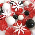 Red White Black Vintage Lucite Beads Flowers Mix