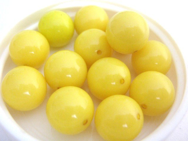 Yellow Opaque Vintage Lucite Beads 11mm Round