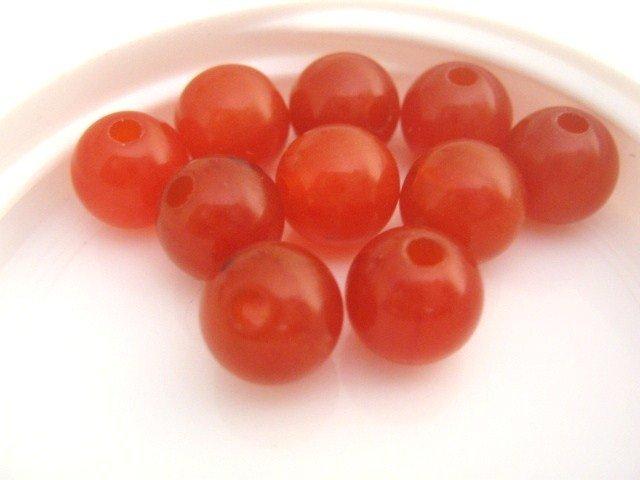 Mandarin Burnt Orange Vintage Lucite Beads 8mm Round