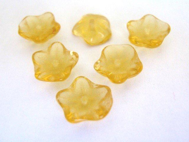 Amber 10mm Flower Brown Czech Glass Beads