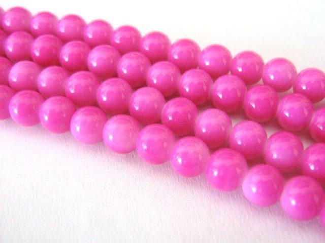Fuschia Pink Opaque Glass Beads Round 4mm