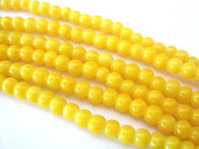 Yellow Opaque Glass Beads 4mm Round