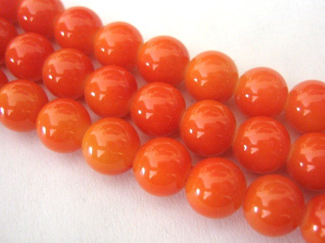 Orange Opaque Glass Beads 6mm Round