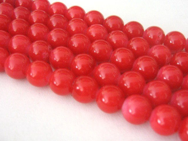 Red Opaque Glass Beads 10mm Round