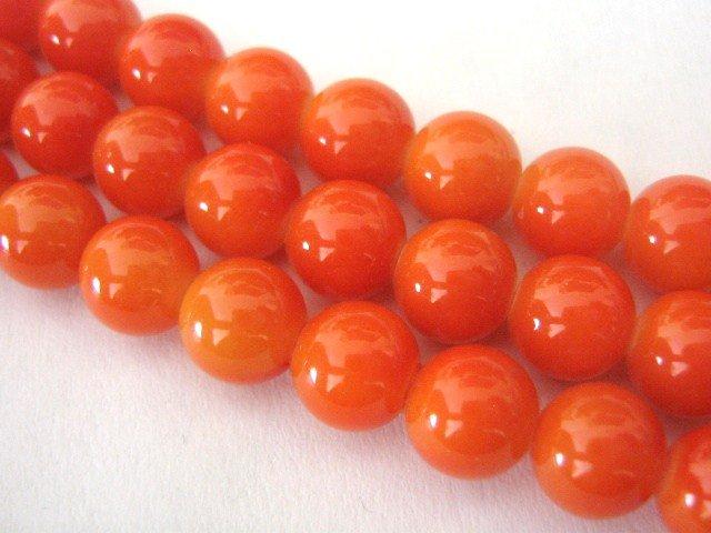 Orange Opaque Glass Beads 8mm Round