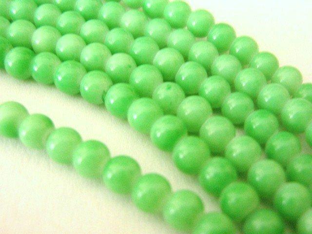 Sherbert Green Opaque Glass Beads 6mm Round