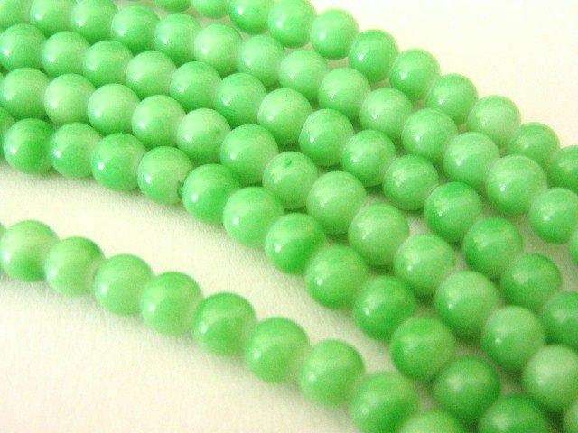 Opaque Green Sherbert 8mm Round Glass Beads