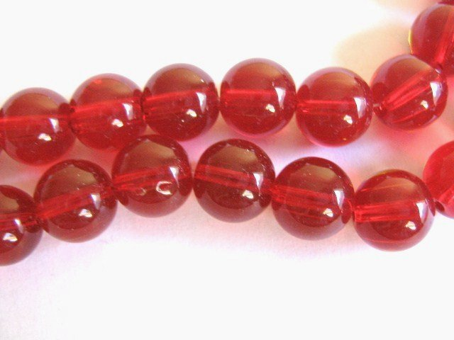 Red Glass Beads 10mm Round Transparent