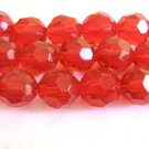 Red Transparent Glass Beads 12mm Faceted Round