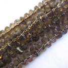 Smoky Topaz Brown Glass Beads 4x6mm Faceted Rondelle