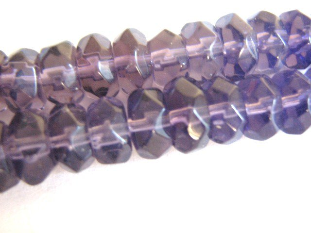Purple Transparent Glass Beads 5x8mm Rondelle