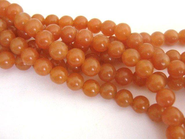 Red Aventurine Beads 8mm Round Orange Gemstone