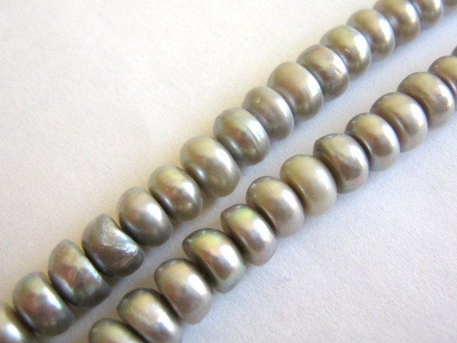 Silver Freshwater Pearls 4mm Button Beads