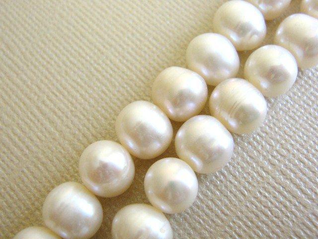 White 8mm Potato Freshwater Pearls Beads