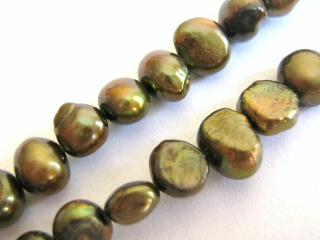 Olive Bronze 7mm Potato Freshwater Pearls Beads