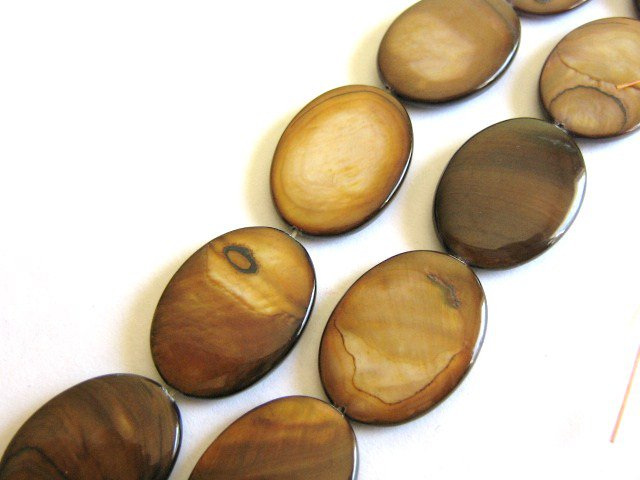 Brown Shells 18x25mm Flat Oval beads