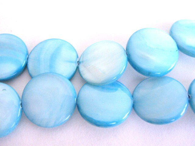 Shells Blue 15mm Coin Beads